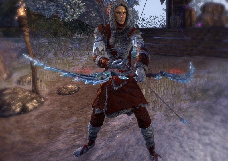 High Elf showcasing a Rkindaleft Weapon Bow during the New Life Festival in ESO