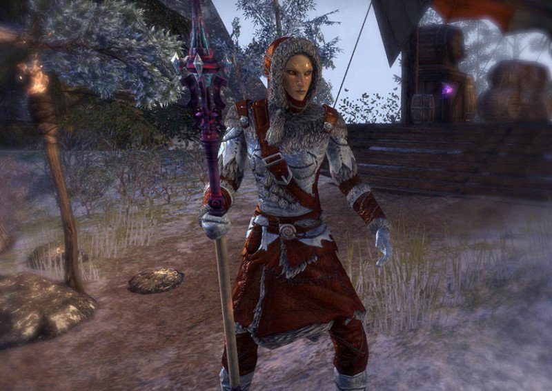 High Elf showcasing a Rkindaleft Weapon Staff during the New Life Festival in ESO