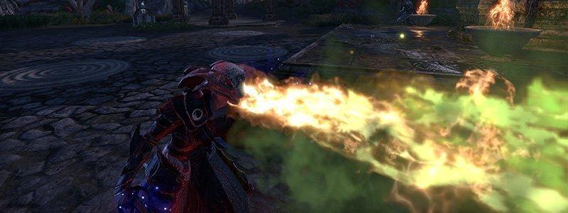 Dragonknight Argonian breathing fire in ESO