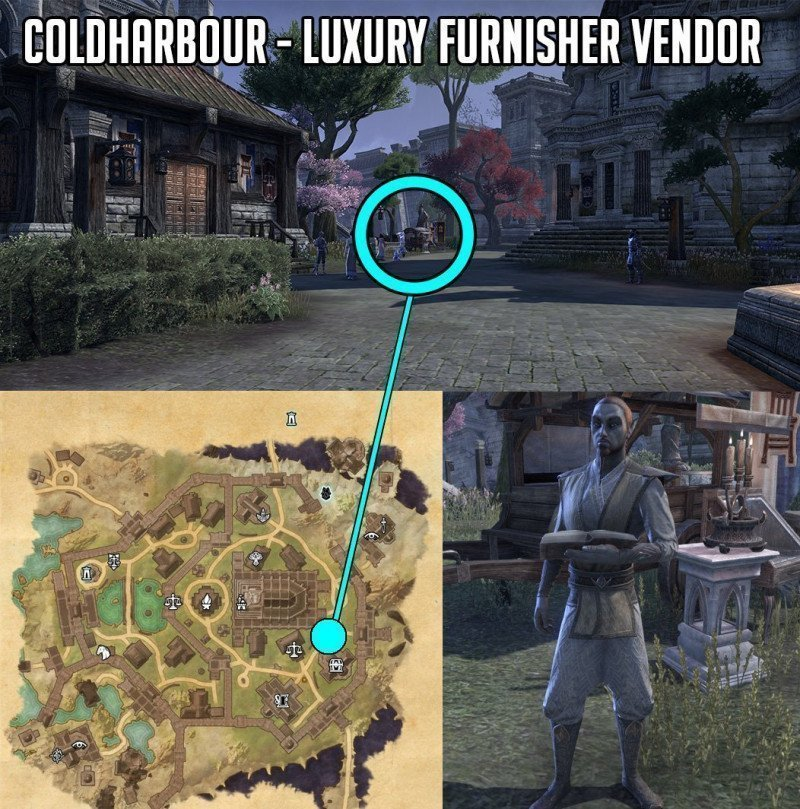 Luxury Vendor, Luxury Furnisher Location Coldharbour next to Cierceros Food and general goods shop, ESO