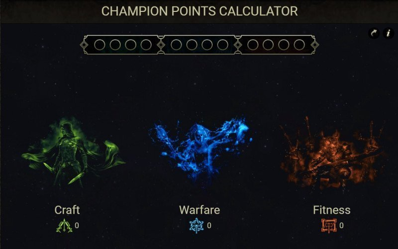 Champion Points Calcuator example all main categories
