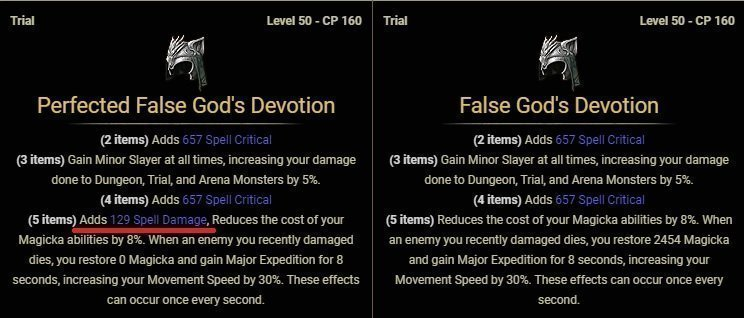 Perfected and imperfect set parts in ESO showcased on False God's Devotion set