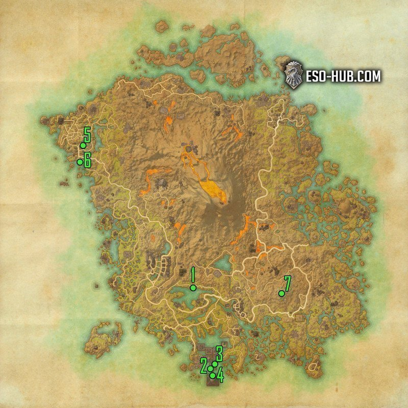 Vvardenfell map with waypoints to Pilgrim's Path Achievement in ESO