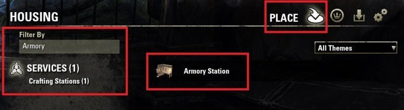 Housing Editor, Search Armory Station and place it in your house ESO