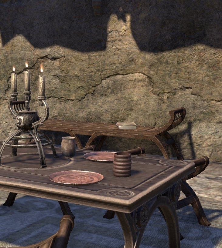Sermons of Vivec 6 in a building to the south of Ules Manor on a bench in ESO