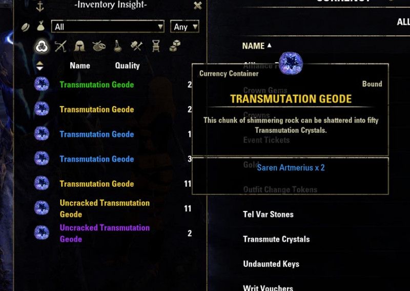 Transmutation Geodes Transmute System Guide ESO