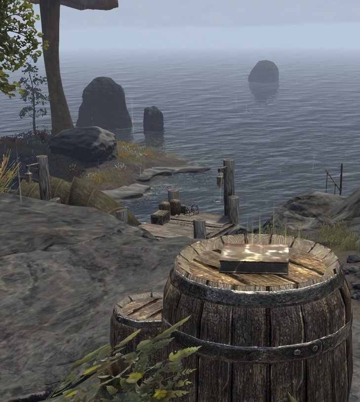Sermons of Vivec 29 on top of stairs leading to Holamayan Monastery on a barrel in ESO