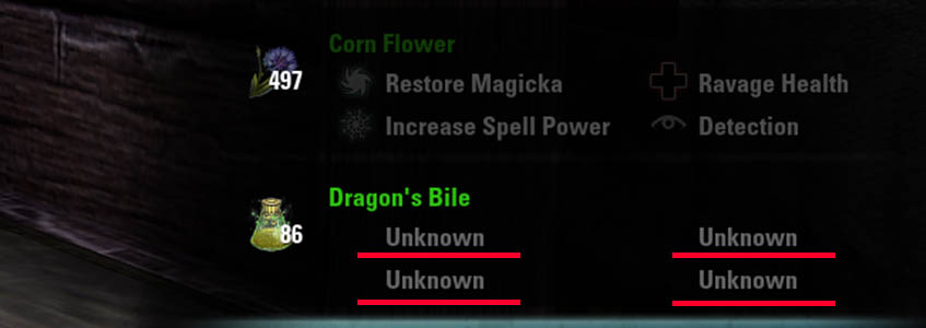 Trait Discovery Reagent Unknown Alchemy Guide ESO