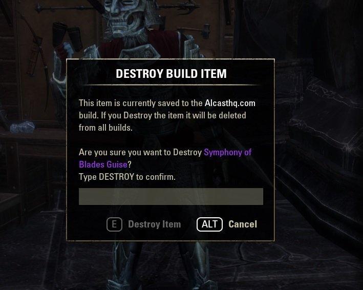 ESO Armory Build item destruction