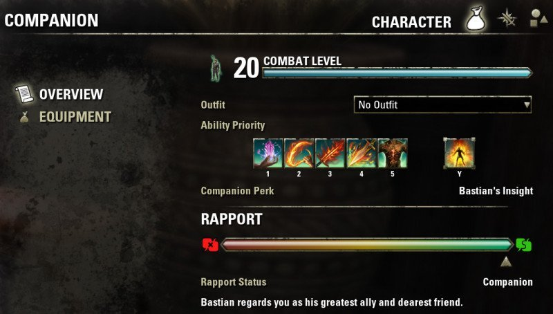 Bastian's Character Menu Overview Page