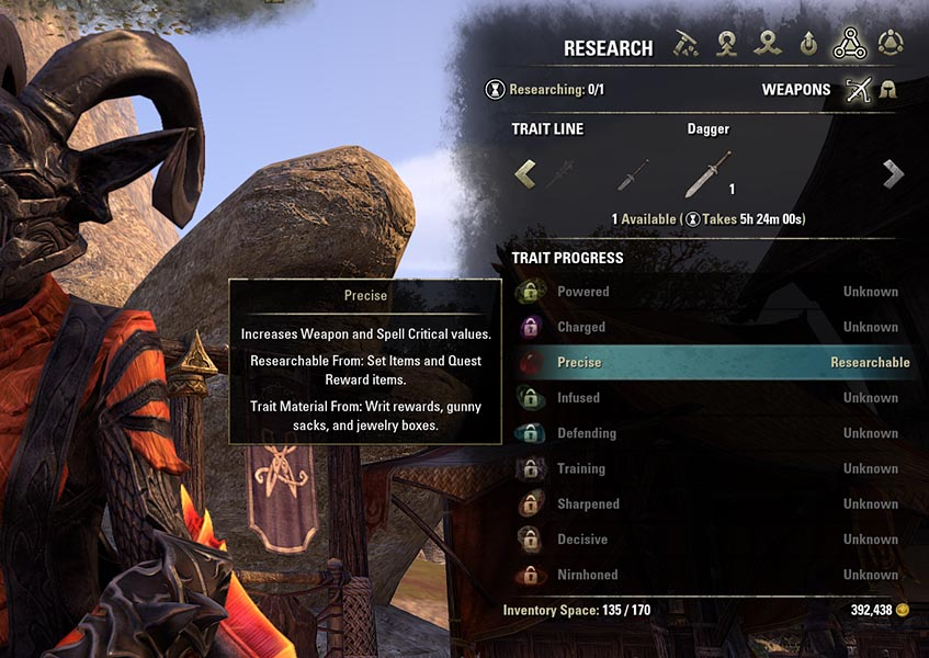 Research Trait E1 Blacksmithing Guide ESO