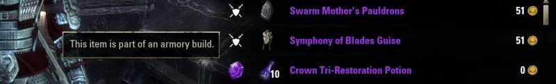 ESO Armory Build lets you know whether an item is part of your setup or not