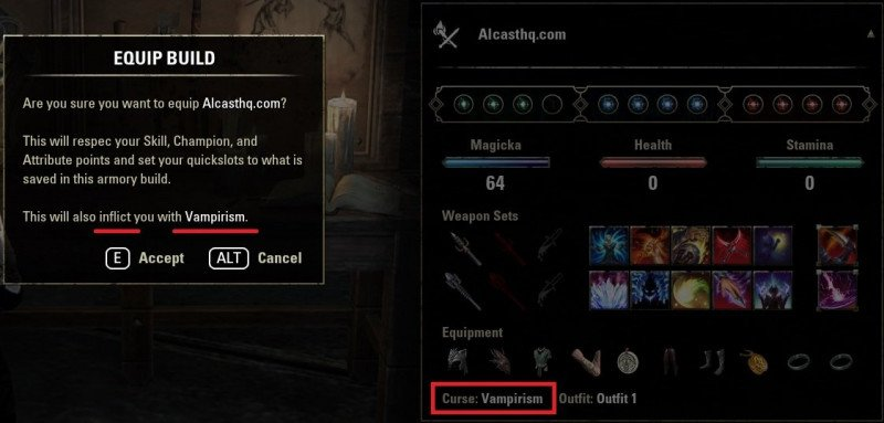 Activate Vampirism or Lycanthropy with The Armory System in ESO