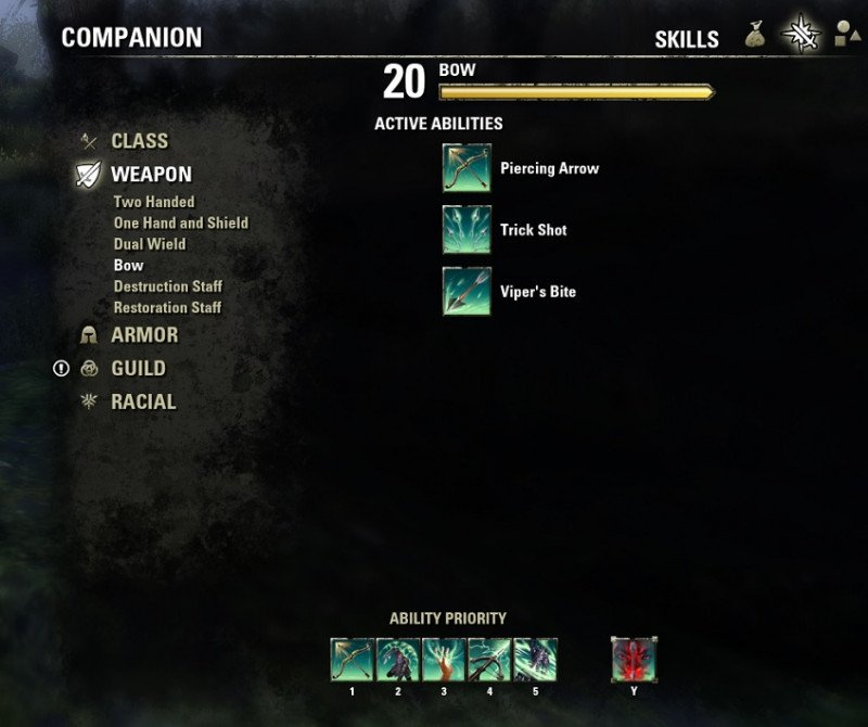 Companion weapon skills with ability priority