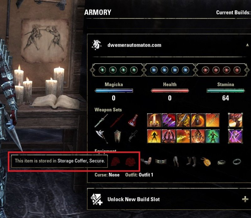 ESO Armory System missing gear example