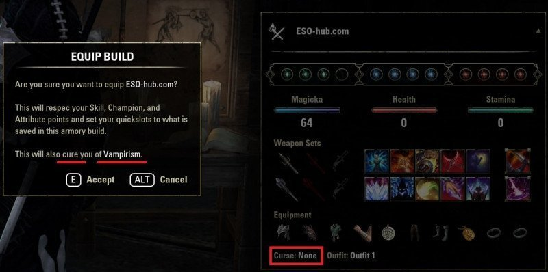 Cure Vampirism and Lycanthropy with the Armory System in ESO