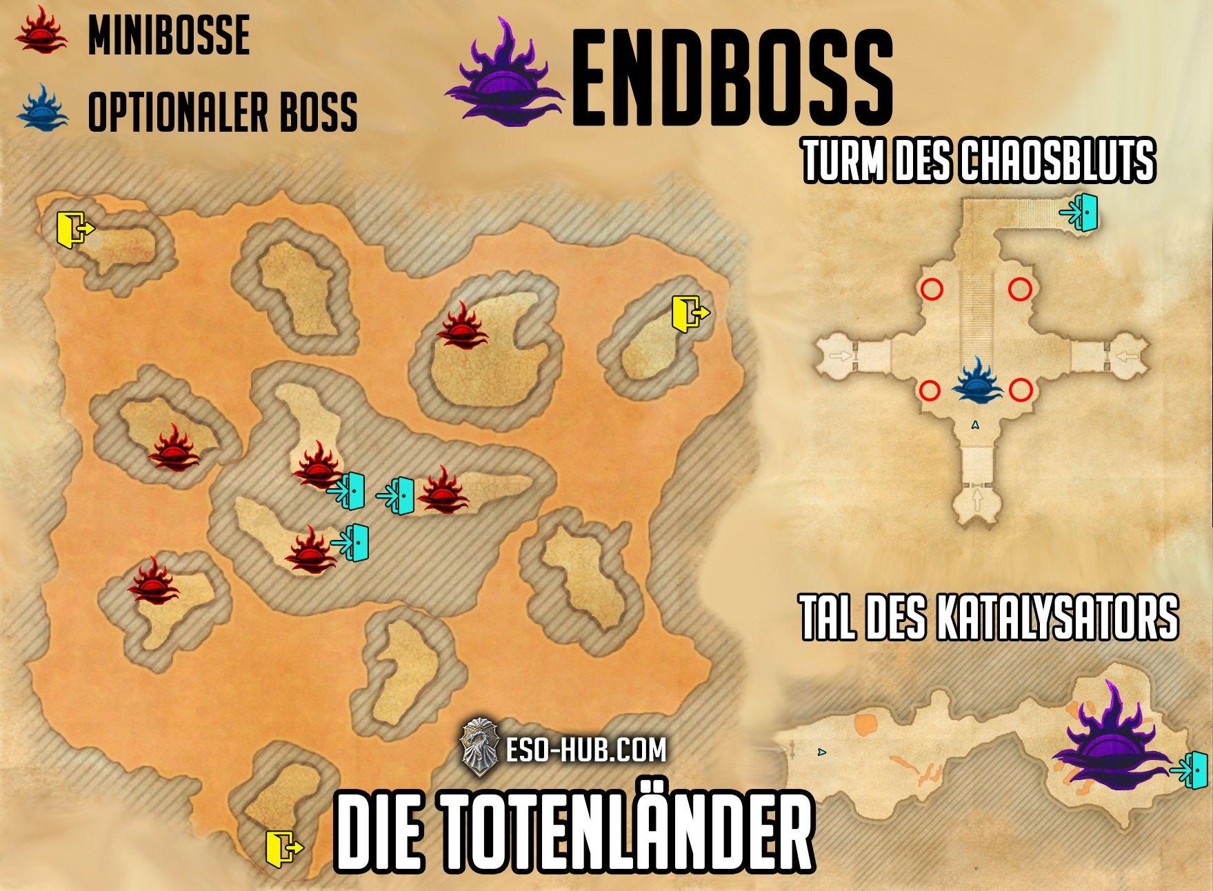 Totenländer Karte mit Bossen und Oblivion Portale