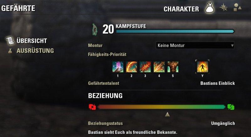Bastians Menü Charakter Übersichtsseite
