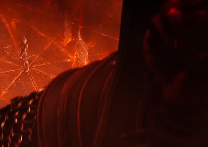 Mehrunes Dagon looking over his back and sees Eveli Sharp-Arrow Gates of Oblivion Trailer