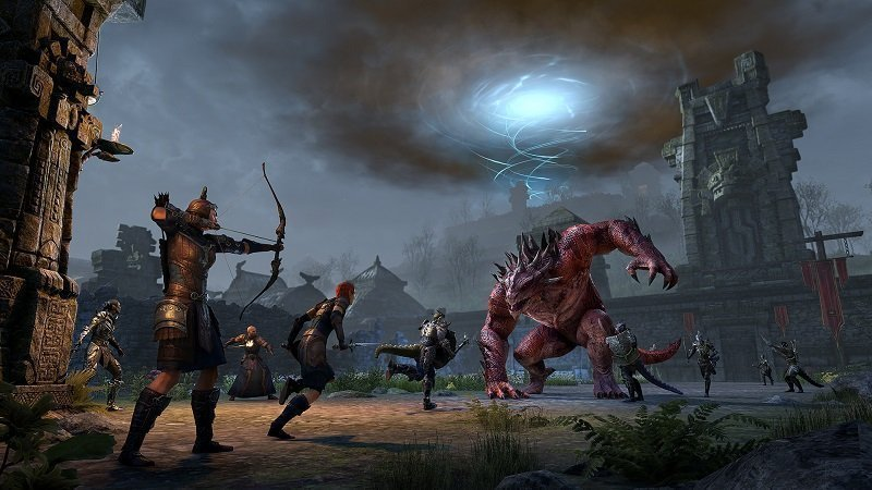 Rockgrove Trial fight scene against an argonian behemoth in ESO