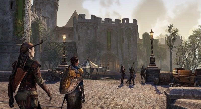 Leyawiin Gates Blackwood ESO. Characters marching inside the city of Leyawiin