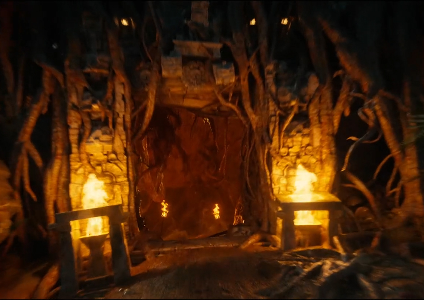 Gate to Oblivion with fire braziers at the entrance